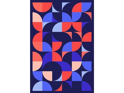 Geometric Poster Series 5, Poster 1 abstract circle red blue modern playful colorful geometry print design poster illustration graphic design