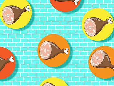 Ham-Brick piggy brick ham icon illustration