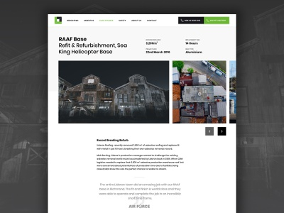 Lidoran -  Case Study Page case study portfolio page construction company roofing construction projects ui design ux