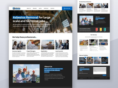 Asbestos Technical ux  ui clean blue colour color trendy typography branding projects web asbestos construction business webdesign ux design ui