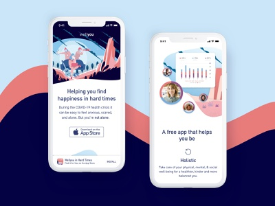 Wellyou - Mobile illustrations illustration covid-19 wellbeing health mobile ui ux design