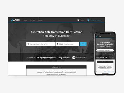AACC Desktop + Mobile 1 certification corporate web app web mobile government business ui ux design
