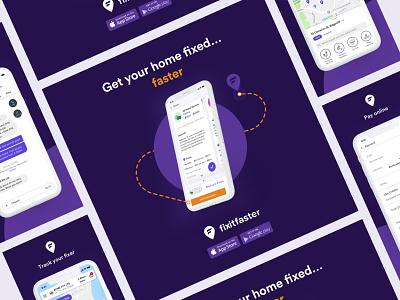 Fixitfaster Branding 1 mobile app brand identity brand design brand typography poster branding ui design