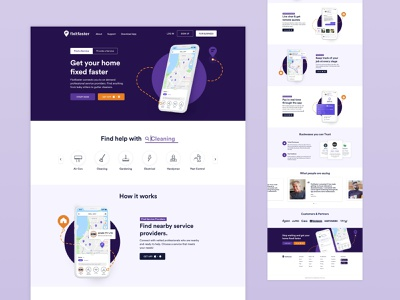 Fixitfaster Website fix home cleaning webdesign website design home services product page full screen website web branding ui design