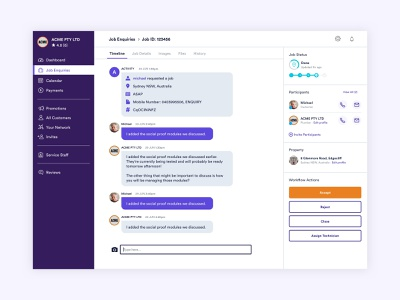 Fixitfaster Web App purple job management web app console ux ui design