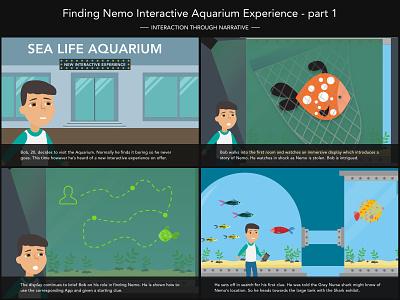 Go Fish Storyboard - Part 1 storyboarding storyboards storyboard interactive fish aquarium ux illustration design