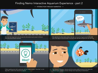 Go Fish Storyboard - Part 2 storyboards storyboarding storyboard research interactive fish aquarium ux illustration design