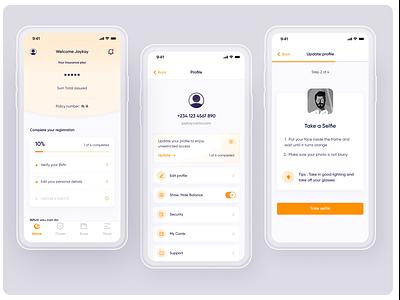Tangerine Insurance App ui finance ux design