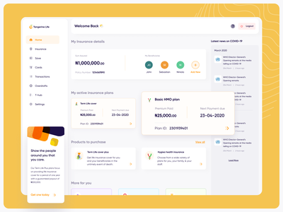 Insurance and Banking Web App ux finance ui