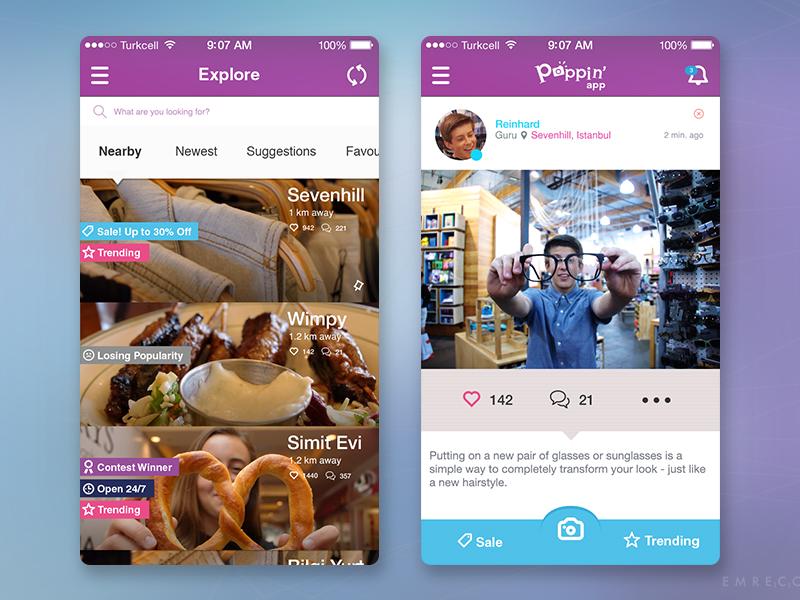 Social Shopping Concept sale trending places post ui explore shopping social concept iphone app mobile