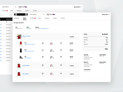 WECO Admin Panel Order Page