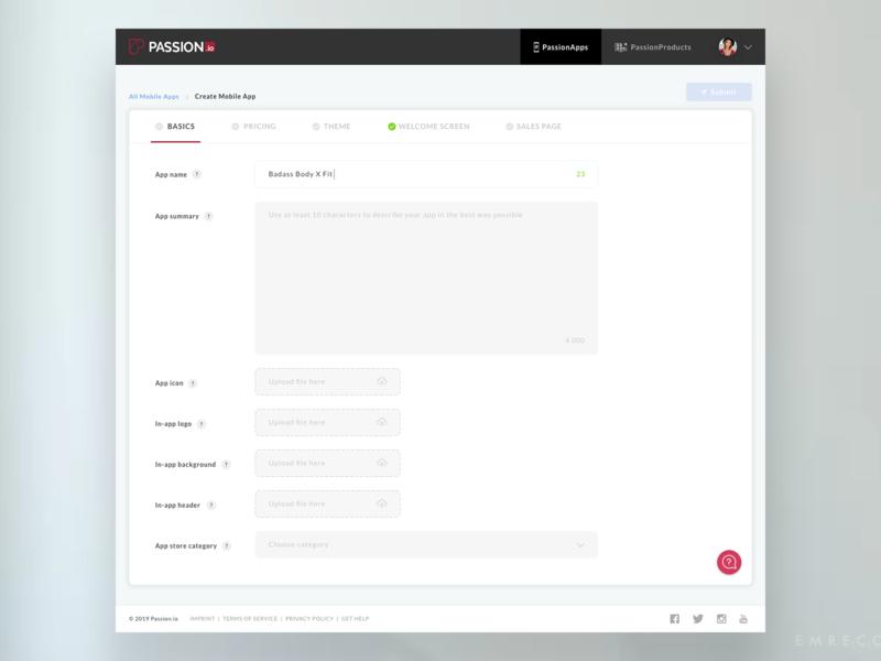 PassionApps Basics interface steps tabs enterprise info app app saas builder passion passion.io mobile app builder app builder desktop product ui