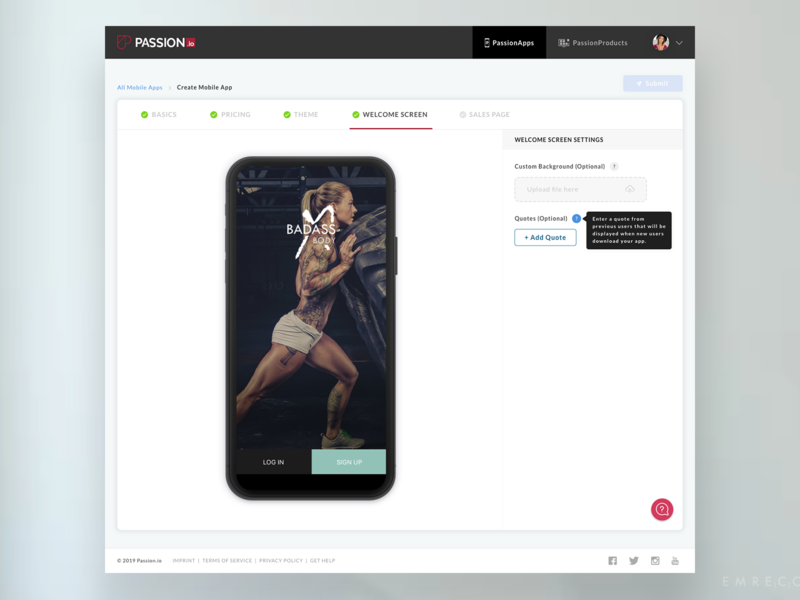 PassionApps Welcome Screen tooltip welcome ui tabs steps saas product passion.io passion mobile app builder interface desktop builder app builder app
