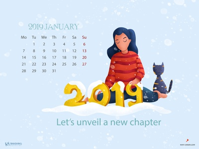 Happy New Year branding smashing magazine girl character character art illustration january calendar 2019 magazine sky cat snow girl new year 2019