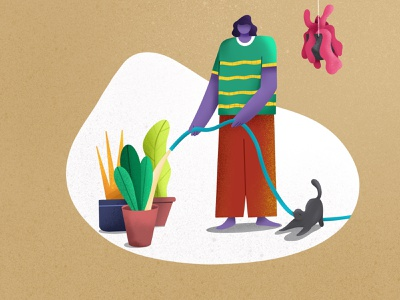 Gardener plants cat character water man character design illustration