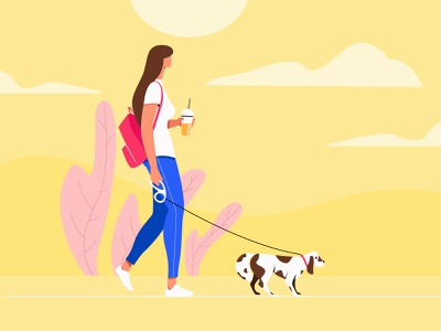Happy Weekend cloud sky plant walking dog girl girl character illustration
