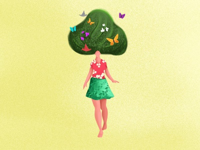 She is a WOMEN! tree bird butterfly girl nature green balance woman illustration