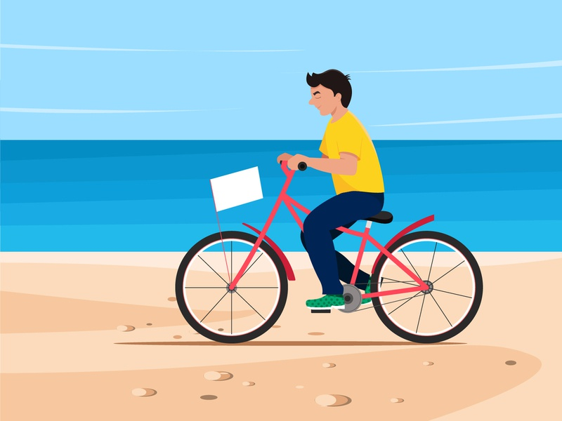 Beach side cycling cycles colour cycling yellow illustration sky beach sea character boy cycle