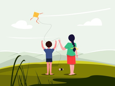 Flying Kites amidst Spring! girl boy grass cloud sky mountain weekend enjoyment happy fun kite children character illustration