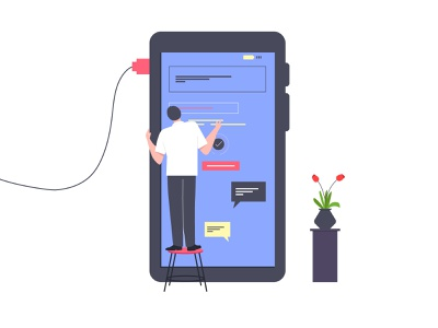 Mobile Screen Interface plant connection character illustration mobile app buildup screen making uiux interface mobile screen screen mobile