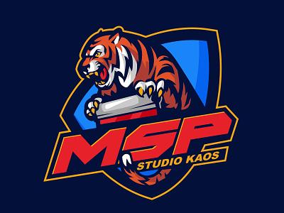 msp screen printing studio badge logo badge vector char mascot graphic illustration identity design logo
