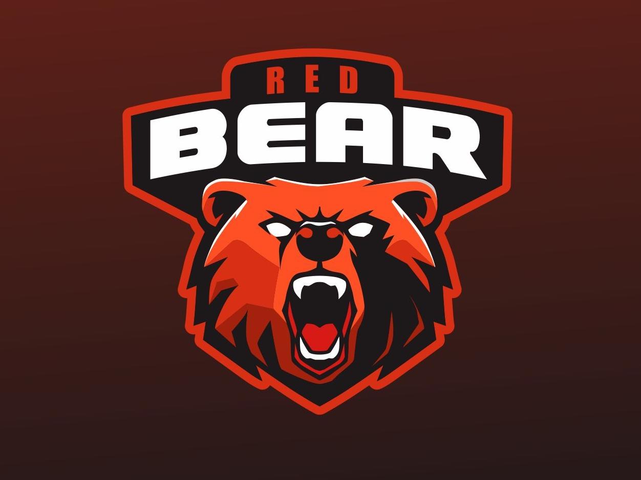 Red Bear sport logo forsale head dailylogo animal badgedesign vector badge logo badge char graphic brand identity design logo mascot design mascot logo mascot esport sport bear