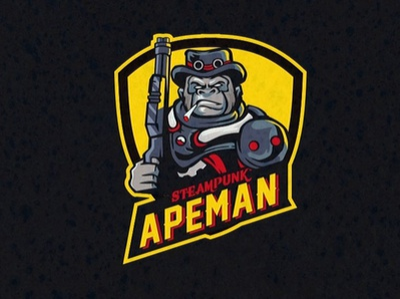 Steampunk APEMAN esports esportlogo classic badge logo animal badgedesign vector cartoon badge esport char mascot graphic artwork illustration forsale brand identity design logo