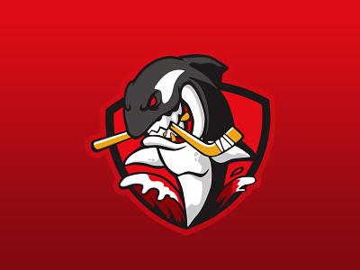 Angry Whales hockey hockey logo whale graphic cartoon animal illustration badgedesign vector badge esport mascot char forsale brand identity design logo