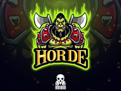 Orc char esportlogo badge cartoon badgedesign esport brand identity vector mascot graphic design logo