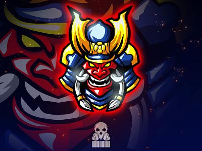 samurai helmet warrior japan samurai esportlogo esports graphic badge logo badgedesign badge esport char mascot illustration brand identity design logo vector