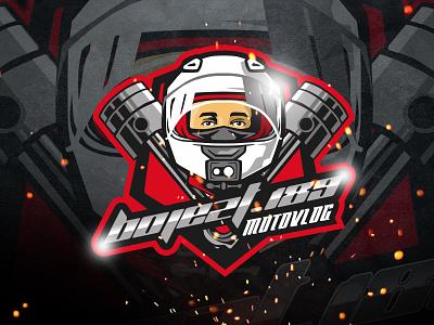 bojezt motovlog (recent project) esport cartoon badge logo vector badge char mascot graphic brand identity design logo