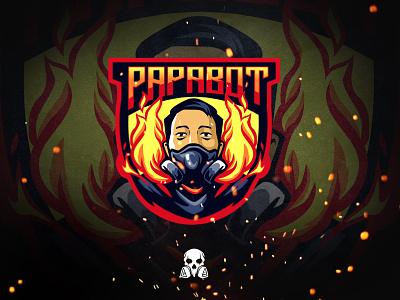 papabot gaming and vapestore mascot artwork graphic illustration brand identity design logo esport gaminglogo gaming vape