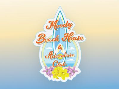 Sticker for a Moody Beach House Adventure club surfboard beach beachclub stickers