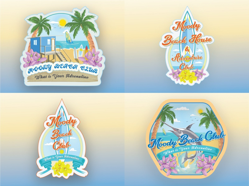 Moody Beach House Adventure club variations. beach illustration windsurf surfboard