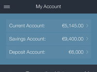 Account dashboard recent transactions large