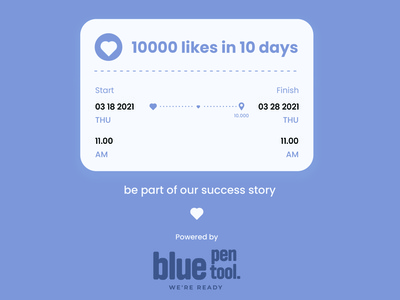 bluepentool 10000 likes in 10 days. Be part of our success story design branding ui social symbol avatar likes graphic design brand logo