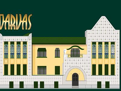 Darvas ház Nagyváradi szecessziós mùzeum branding illustration vector design art nouveau szecesszió szecesszió szecesszio darvas ház casa darvas oradea