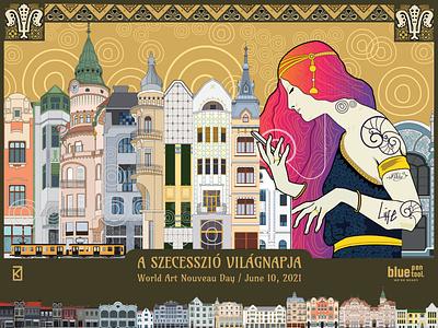 World Art Nouveau Day / June 10, 2021 poster design vector symbol avatar illustration graphic design secession art nouveau