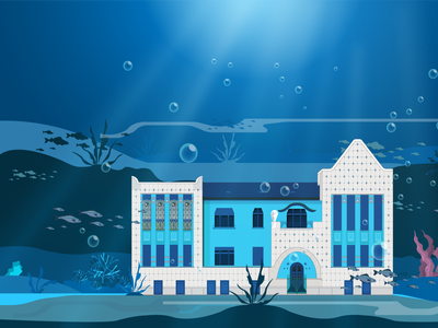 Art nouveau building underwater. jugendstil secession