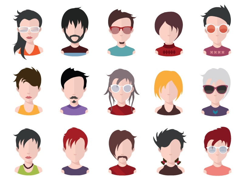 Avatar collection head app vector adult teacher interface business user glasses model human profile
