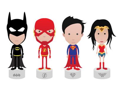 Justice League avatars Batman,Flash,Superman,Wonder Woman