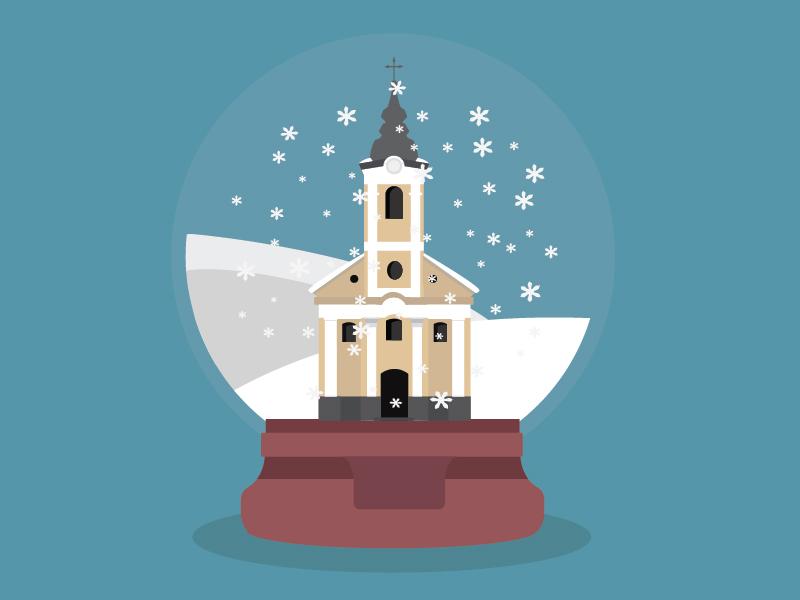 Snow globe with church 01