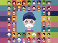 Group of people men and women avatar icons illustrations