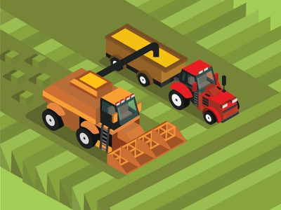 Combine harvester and tractor 3d isometric view combine machinery plant agriculture summer tractor wheat grain field crop farm farming