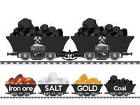 Pile of charcoal,Coal Mine,gold,iron ore,salt Wagon