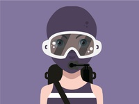SCUBA Diver with Full Face Mask