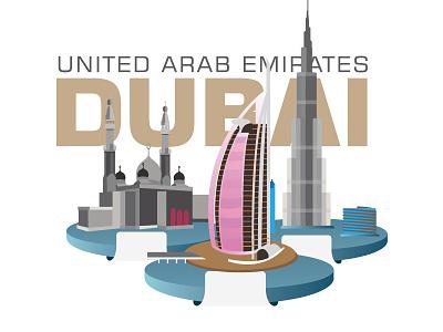 Dubai buildings Burj Khalifa,Burdzs al-Arab,Jumeirah Mosque cityscape view construction skyscraper tourism travel urban skyline landscape design dubai illustration