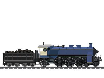 Old Locomotive railway retro illustration icon journey old train vector travel transportation railroad locomotive