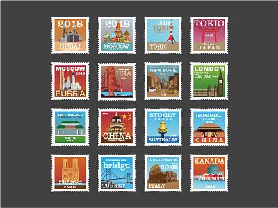 Post Stamp Collection kanada italy france australia china london usa tokio moscow dubai