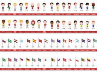 Football World Cup Russia Isometric football players and flagss